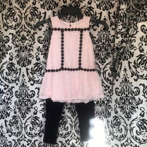 Kate spade 2 pc pink lace top and leggings. NWOT